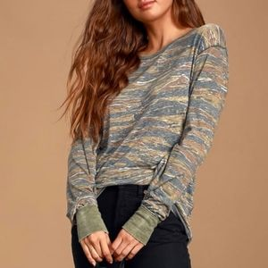 Free People Arielle Tiger Camo Long Sleeve Top S